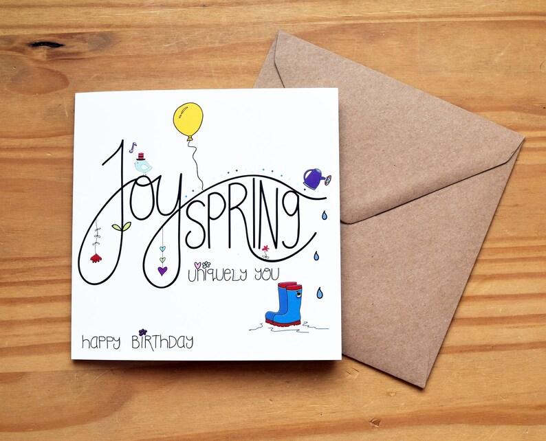 Joy Spring  Birthday Card by Spoken Treasures image 0