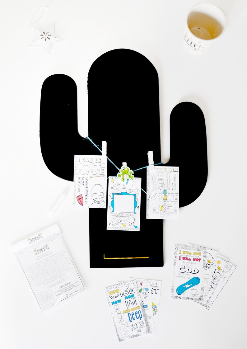 Boys Cactus Treasure Chalkboard with Bible Colouring Cards image 0