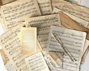 Music Junk Journaling, Ephemera, scrapbook, mixed media, collage, BuJo Paper Pack