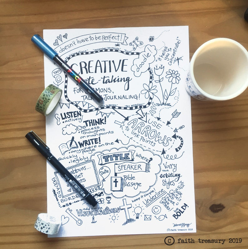 Creative Note Taking Ideas for talks sermons and journaling image 0