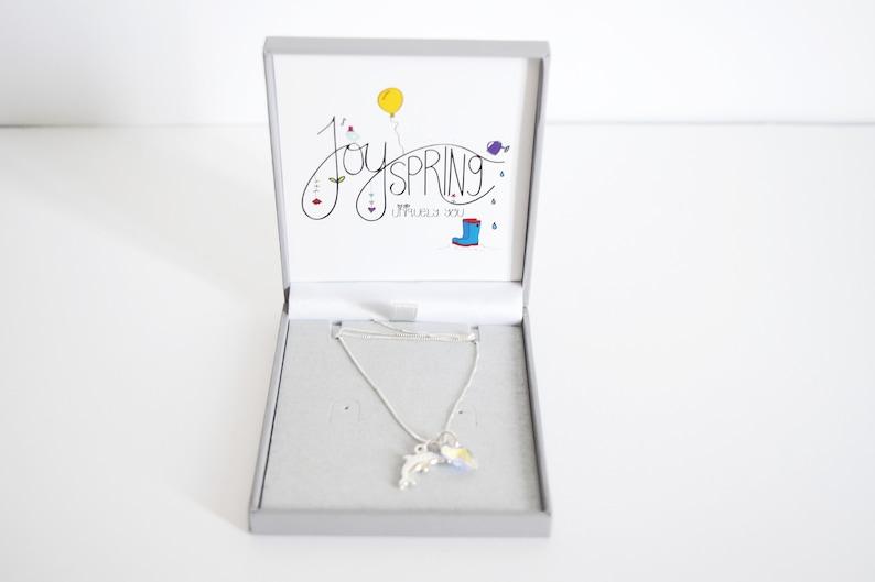 Joyspring Dolphin & Swarovski Crystal Heart necklace from image 0