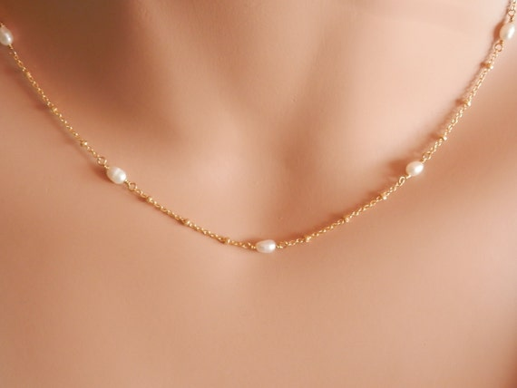collier ras de cou perles or