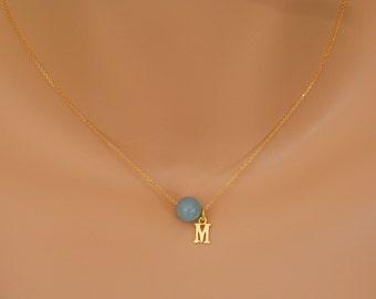 Aquamarine Necklace gold March Birthstone Necklace Personalized Necklace gold march Birthstone Jewelry aquamarine choker aquamarine jewelry