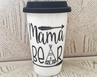 Ceramic Mama Bear Travel Coffee mug cup with silicone lid & Urban Woodland Baby Mothers Gift Mom Mug momma Arrow TeePee baby shower gi