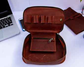 51cca1f7966 Exinoz Genuine Leather Tech Organizer Kit. Protects Your Electronic  Devices, Cables Organizer, Gadget Bag, Dopp Kit. Corporate Gift
