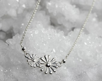 floral pendant Daisy flower necklace sterling silver dainty daisy choker double flower charm flower bar necklace women necklace gift