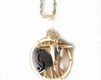 Partners ID Gold Rope Chain Necklace with Lifestyle Pendant and Bull Charm