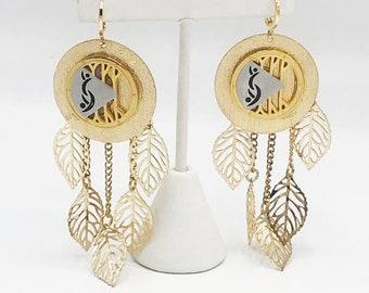Hotwife, Vixen, Swinger, Unicorn Gold Lifestyle Pendant Swinger Symbol Earrings with Gold Leaves