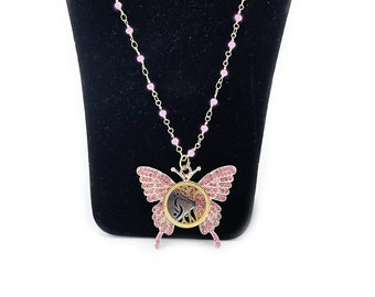 Sparkling Pink Butterfly Pendant with Swinger Symbol Lifestyle Pendant, Hotwife, Unicorn, Open Marriage, Libertine