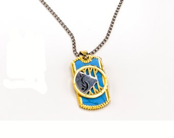 Blue and Gold Dog Tag Swinger Symbol Necklace; Swinger Pendant, Open marriage, hotwife, cuckold, upside down pineapple, polyamory