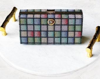 Sparkling Colorful Crystal Swinger Evening Bag with Swinger Symbol Pendant, Hotwife Symbol, Vixen Symbol, Open Marriage Symbol