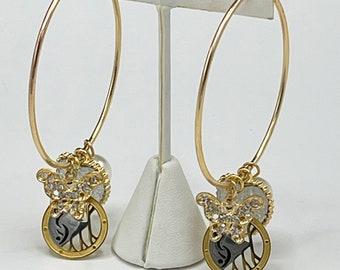 Gold Hoop Earrings with Swinger Symbol Pendant Butterfly Pearl Heart, Hotwife Earrings, Vixen, Open Marriage,MFM