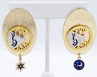 Gold Celestial Swinger Symbol Earrings with Partners ID Lifestyle Pendants