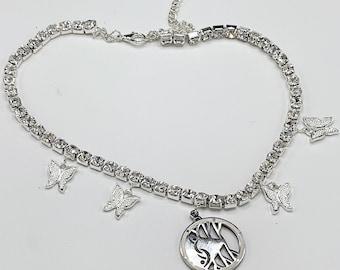 Sparkling Silver Rhinestone Swinger Symbol Choker Necklace  Shimmering Butterflies Silver Swinger Pendant, Hotwife Jewelry, MFM, QOS, BBC