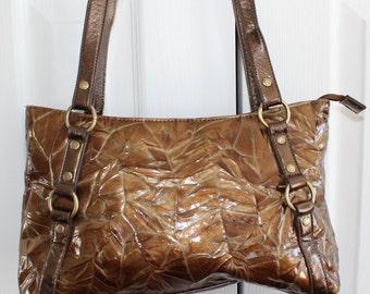 Handbag, gold bag, crocodile bag, brown bag, faux leather bag, shoulder bag, metallic bag, gold and bronze tones, vegan leather