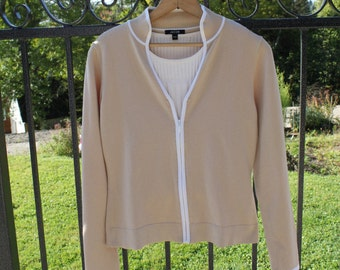 Cardigan, knit twin-set, top beige, long sleeves cardigan, Twin Set 3 pieces for women, Size 10 Us, size Eur 42
