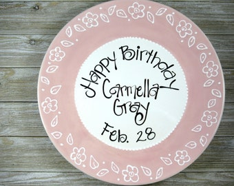 Personalized Birthday Plate in Pink with Flowers for Girls