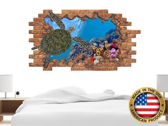 Underwater World Wall Decals. 3D Turtle Window Wall Decor. Sea Ocean  Animals Wall Sticker. Nautical Wall Mural. Turtle Bedroom Decor NS2145