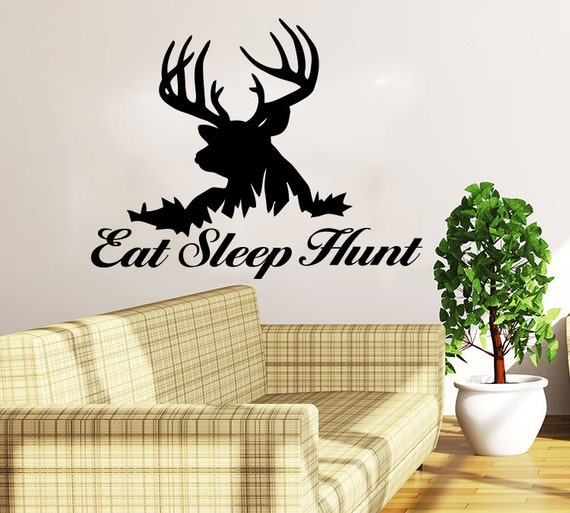 Deer Hunting Wall Decals Quotes Vinyl Sticker Decal Quote Eat Sleep Hunt  Home Decor Nursery Bedroom Art Design Interior NS1008
