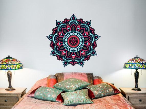 Mandala Wall Decal Bohemian Art Full Color Murals Yoga Vinyl Stickers Decor EN22