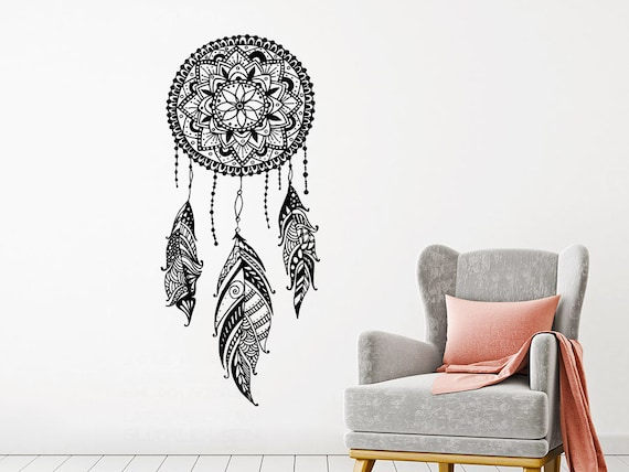 dream catcher wall decal dreamcatcher feathers night symbol | etsy