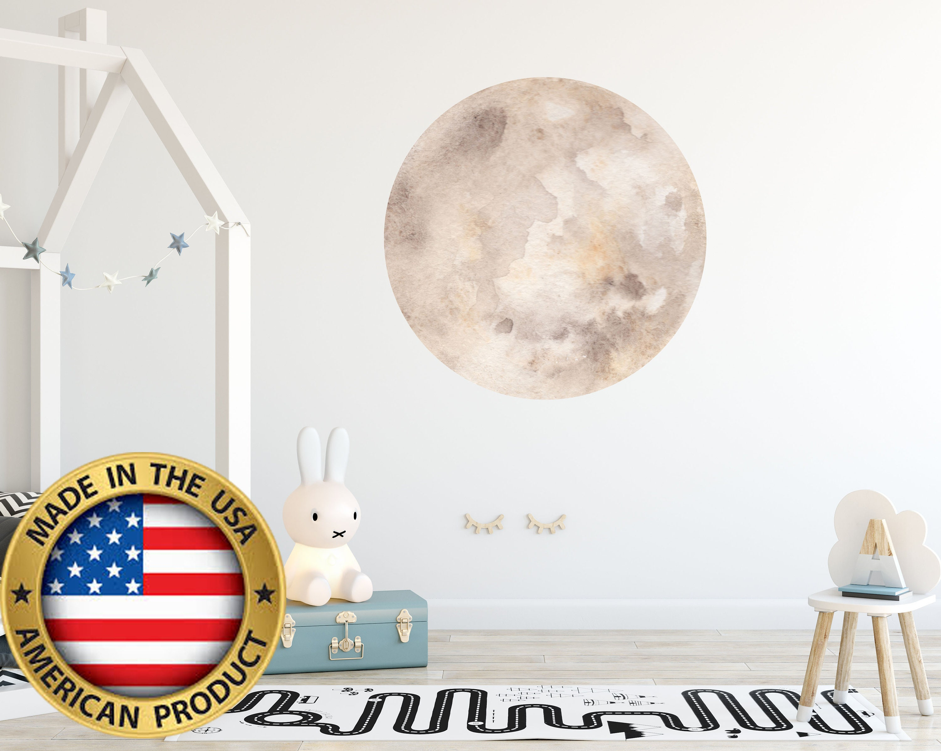 3d Moon Wall Decal Watercolor Moon Nursery Decals Space Etsy