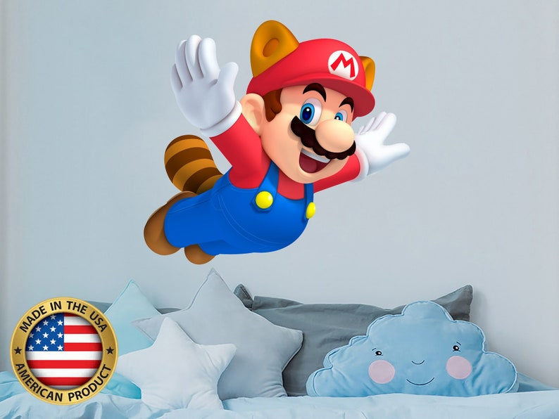 Super Mario Wall Decal. Mario Nursery Themed Decor. Game Room Wall Decor.  Peel and Stick Mural. Super Mario Kids Bedroom Decals NS2142
