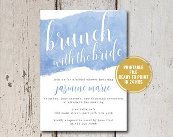 Bridal Shower Invitation Printable, Watercolor Bridal Shower Invitation, Blue Watercolor Invites,Brunch with the Bride Invitations, Download