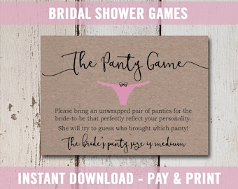 Bridal Shower Invitation Inserts, Printable Bridal Shower Game, Bridal Shower Panty Game, Bridal Shower Activities, Rustic Instant Download