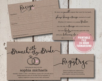 bridal shower invitation printable suite rustic bridal shower invitation bridal shower invitation inserts recipe cards instant download