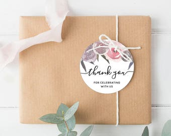 Peony Bridal Shower Tags Bridal Shower Thank You Tags Instant Download Printable Wedding Favor Tags, Watercolor Favor Tags, Instant Download