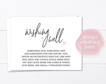 wedding wishing well card printable bridal shower wishing well insert instant download wishing well poem rustic bridal shower registry
