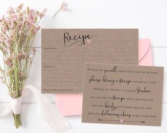 Bridal Shower Invitation, Bridal Shower Recipe Card for Bride, Bridal Shower Invitation Inserts, Brown Paper Bridal Shower Instant Download