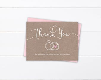 printed or printable rustic thank you cards engagement thank etsy