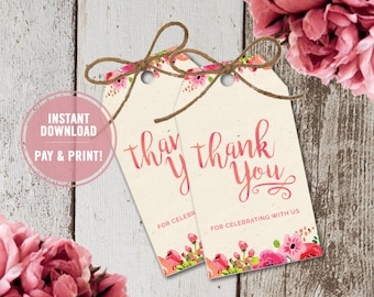 bridal shower favor tags thank you favor tags wedding favor tags graduation favor tags party favor tags printable instant download tags
