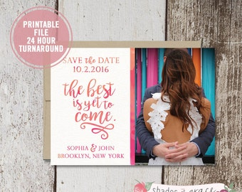 Save the Date Printable, Rustic Save the Date, Save the Date Photo Invitation, Engagement Announcement, Wedding Save the Date, Download