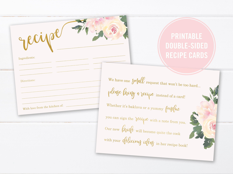 Wedding Shower Invitation Bridal Shower Recipe Card for