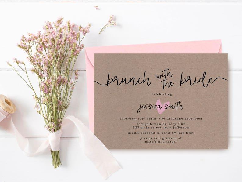 2e4572227214 Rustic Bridal Shower Invitation Printable Brown Paper Bridal