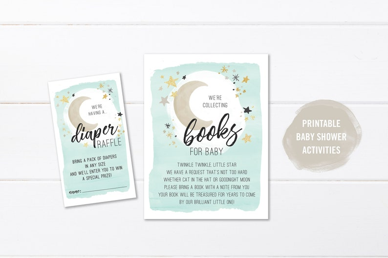 Neutral Baby Shower Invitation Activity Printable Book Request For Baby Boy Moon And Stars Baby Shower Diaper Raffle Card Instant Download