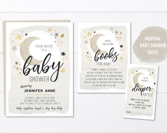 Moon and Stars Baby Shower Invitation Printable or Printed, Rustic Neutral Baby Shower Invite, Sand Baby Shower Invitations Moon and Stars