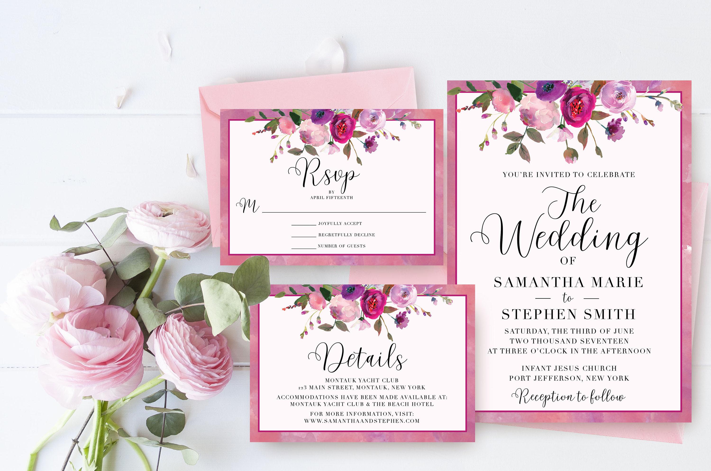 Blumen Hochzeit Einladung Suite Aquarell Hochzeit Set Rosa Etsy