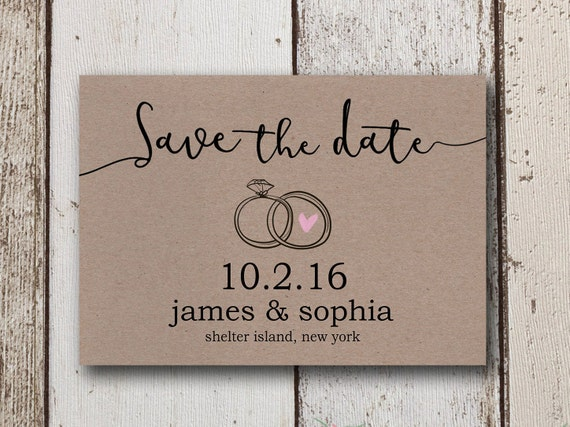 rustic save the dates diy save the date invites kraft paper etsy