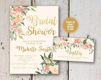 Floral Bridal Shower Invitation, Printable or Printed Wedding Shower Invite, Registry Card, Watercolor Bridal Shower Suite Faux Gold Foil