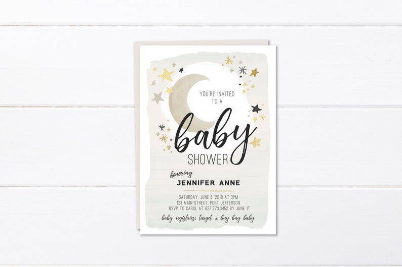 Moon And Stars Baby Shower Invitation Printable Or Printed Etsy