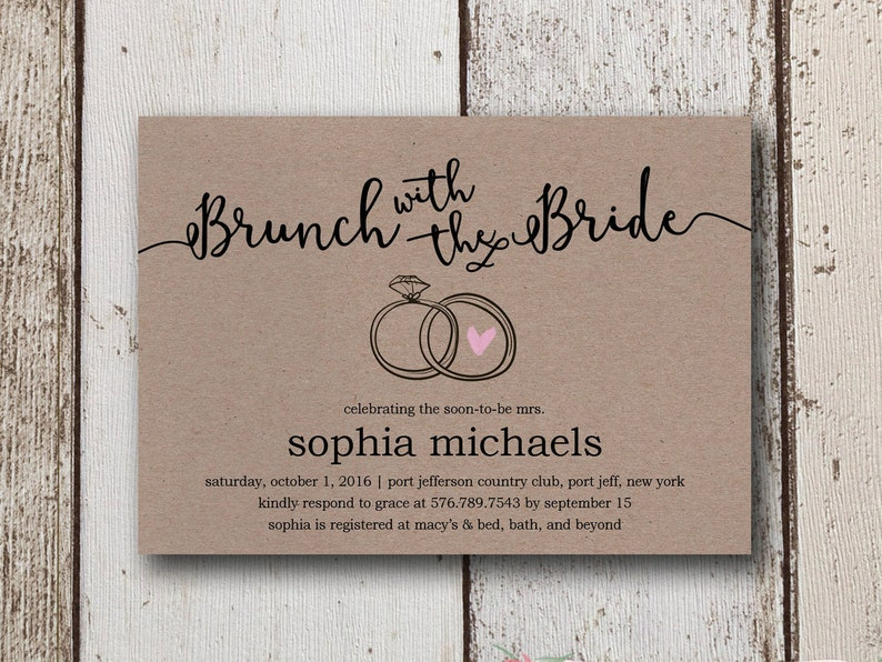 Printed Or Printable Bridal Shower Invitation Rustic Wedding Invites Brown Paper Brunch With The Bride Invite