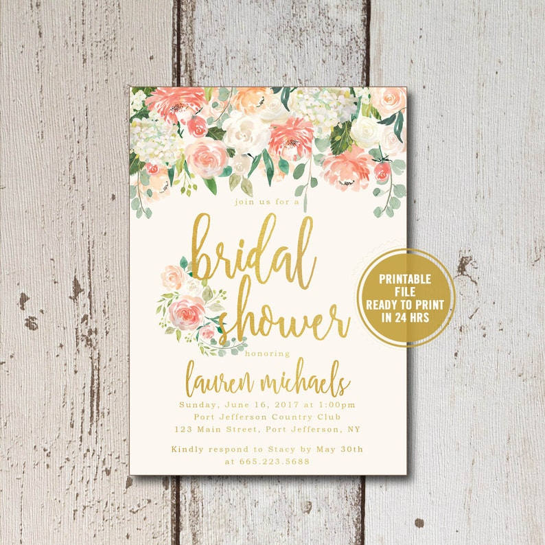 Bridal Shower Invitation Printable Suite Floral Inserts Recipe Cards Download