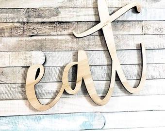 Eat Wood Wall Art | Eat Wall Sign | Kitchen Wood Cutout | Wood Word Cutout | Fixer Upper | Cursive Cutout | Wood Cutout | Word Cutout | Home