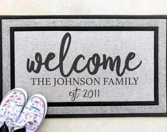 Custom Welcome Front Door Mat Personalized | Monogram Door Mat | Custom Personalized Front Doormat | Farmhouse Rustic Doormat