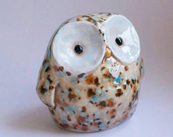 Rocky the Owl Bank - unique ceramic art figure - coin holder teal blue brown speckled dot - original design by Art Farm