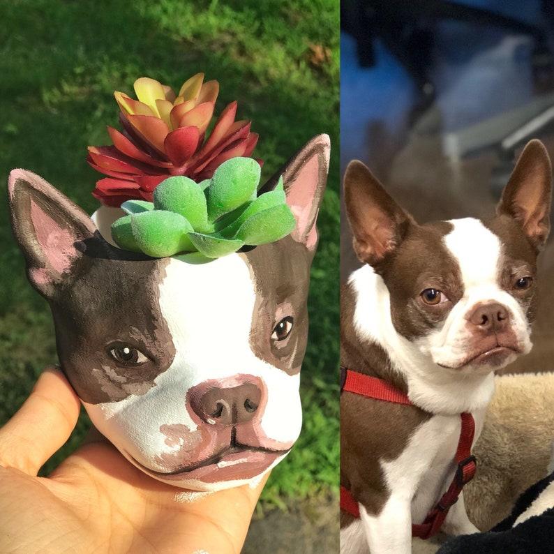 Custom Dog lover gift Christmas Gift Dog Planter pet gift image 0